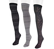 MUK LUKS Womens Microfiber 3-Pair Over-the-Knee Socks - A335333