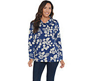 Denim & Co. Active Floral Printed French Terry Long-Sleeve Top - A342733