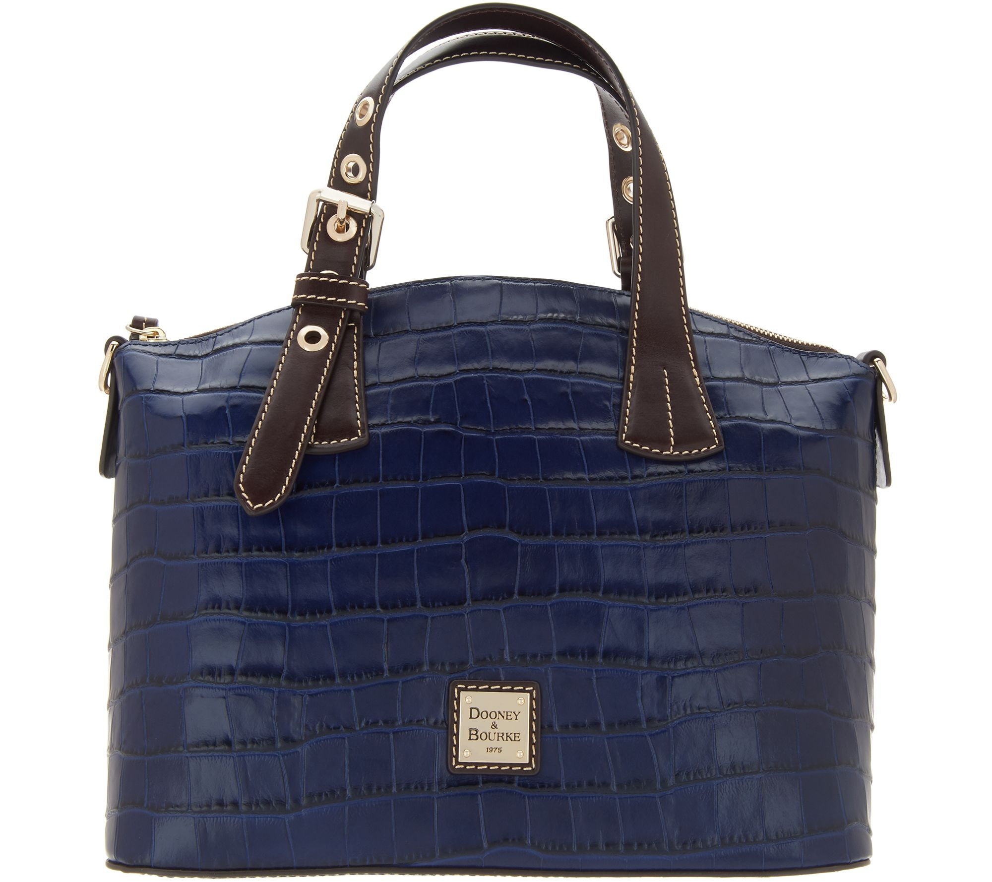 1bcc6e52d74f Dooney   Bourke Croco Embossed Leather Trina Satchel - Page 1 — QVC.com