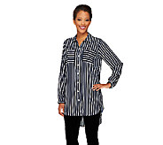 Susan Graver Printed Stretch Woven Boyfriend Shirt w/ Hi-Low Hem - A261934