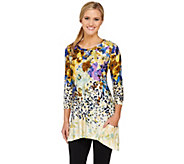 LOGO by Lori Goldstein 3/4 Sleeve Floral Animal Print Knit Top - A263234