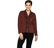 Bob Mackies Button Front Printed Fleece Jacket with Pockets - A283734