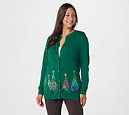 Quacker Factory Embroidered Sequin & Stud Tree Button Front Cardigan - A284434