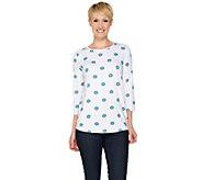 C. Wonder 3/4 Sleeve Floral Dot Print Knit Top - A287634