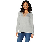 Kelly by Clinton Kelly Long Sleeve Top w/ Faux Suede Lace-Up Detail - A297934