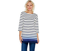 Denim & Co. Regular Perfect Jersey Ombre Stripe 3/4 Sleeve Tunic - A303134