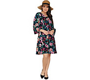Denim & Co. Regular V-Neck 3/4 Bell Sleeve Fit & Flare Dress - A303734
