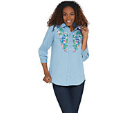 Joan Rivers Denim Shirt with Floral Embroidery - A304734
