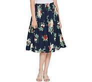 Denim & Co. Printed Pleated Midi Skirt - A309434