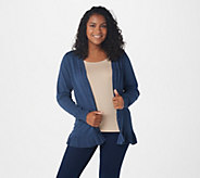 Joan Rivers V-Neck Cardigan with Ruffle Hem Detail - A309634