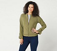 H by Halston Zip-Front Bomber Jacket with Drawstring Sleeves - A350234