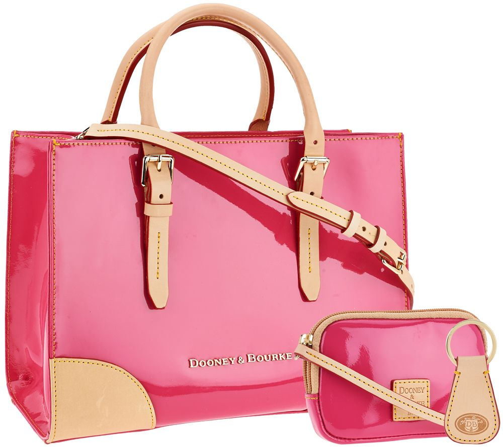 Dooney Bourke Patent Leather Satchel With Accessories Page 1 Qvc