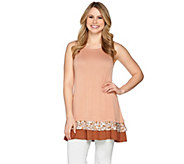 LOGO Layers by Lori Goldstein Knit Tank with Tiered Ruffle Trim - A285335