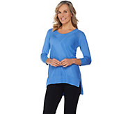 H by Halston 3/4 Sleeve Pullover Sweater with Stitch Details - A287135