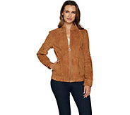 As Is Dennis Basso Washable Suede Bomber Jacket - A307435