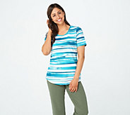 Denim & Co. Active Printed Perfect Jersey Curved Hem Top - A307535