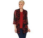 Susan Graver Printed Novelty Knit Cardigan and Tank Set - A308235