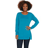 H by Halston Crew-Neck Tunic Sweater with Forward Notch Detail - A310035