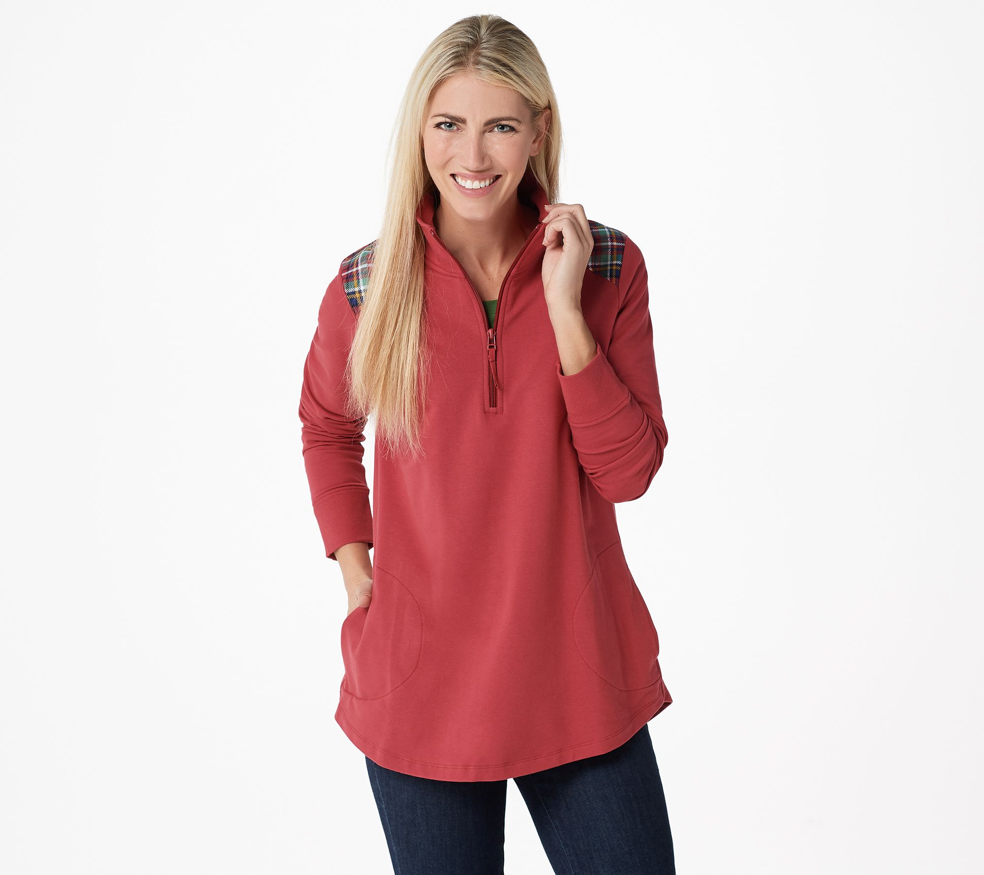 d30a007969 Denim   Co. Active French Terry Half Zip Tunic with Pockets - Page 1 —  QVC.com