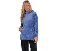 Isaac Mizrahi Live! SOHO Plushed Velour Pullover Hoodie with Pocket - A346835