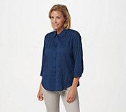Joan Rivers 3/4-Sleeve Textured Button Front Shirt - A349235