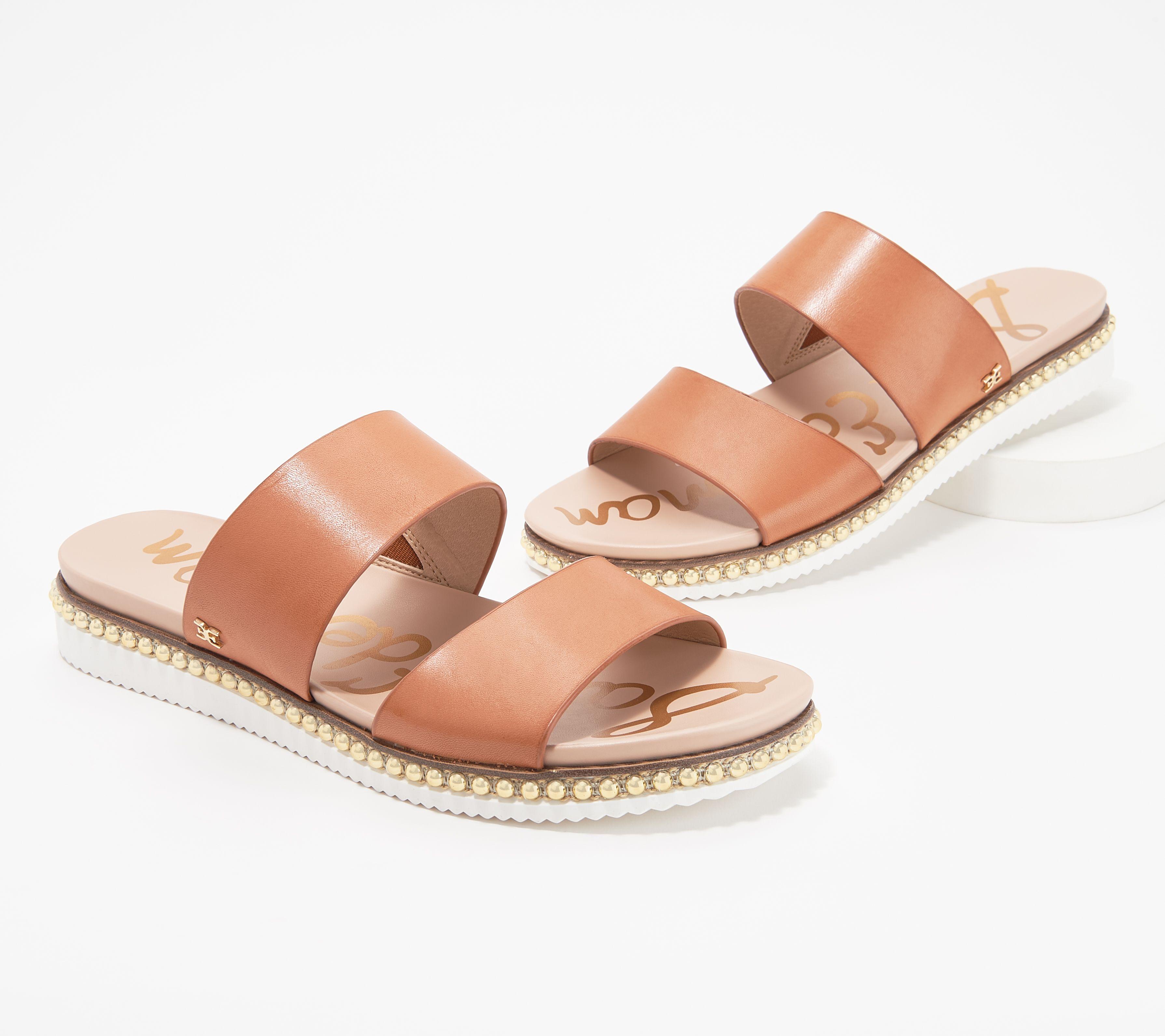 c9d446e15 Sam Edelman Leather Double Strap Slide Sandals - Asha - Page 1 — QVC.com
