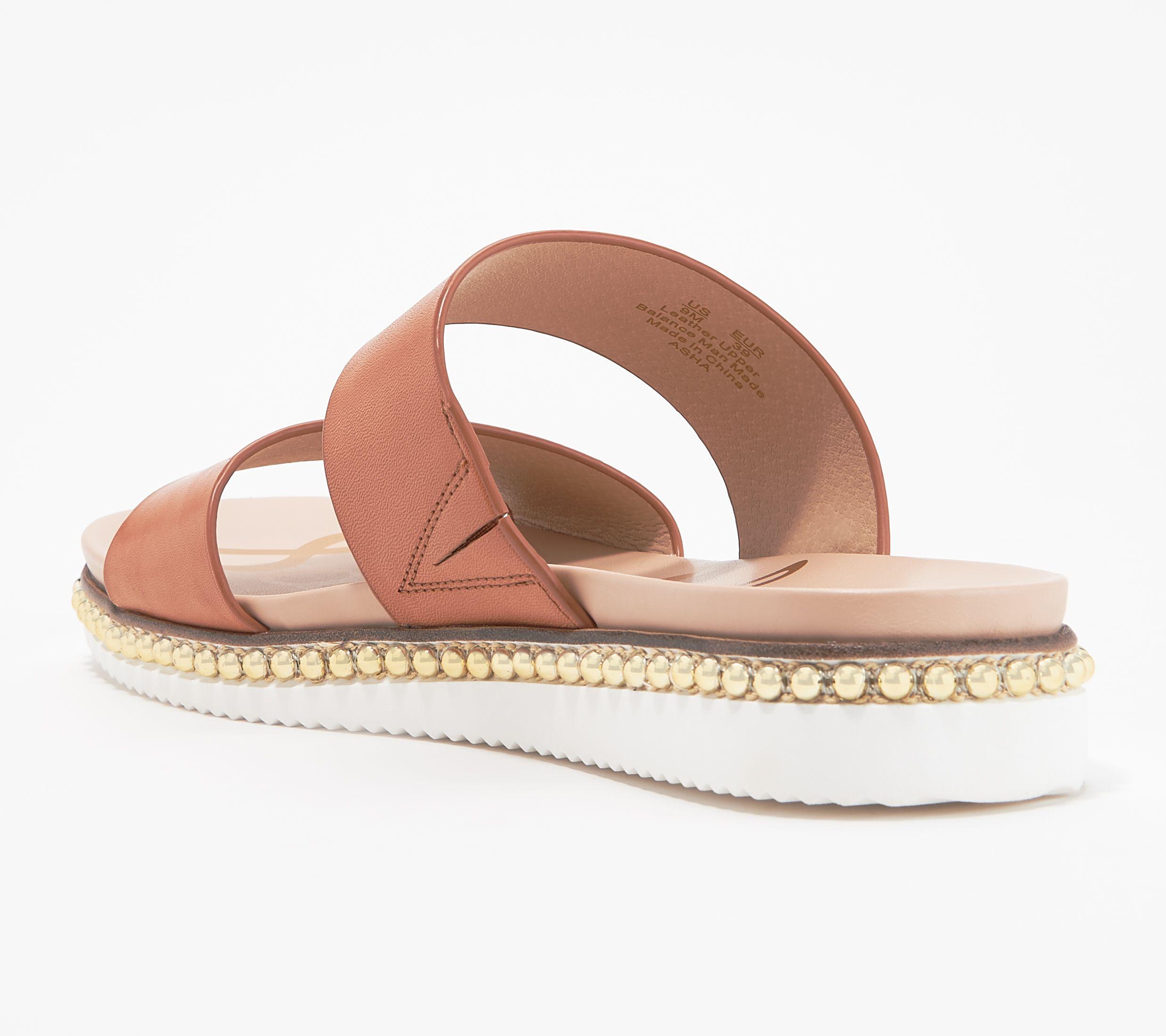 96fac71c5324 Sam Edelman Leather Double Strap Slide Sandals - Asha - Page 1 — QVC.com