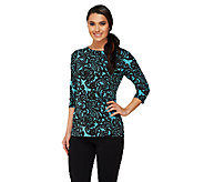 Bob Mackies Lace Print 3/4 Sleeve Jersey Knit Top - A254136