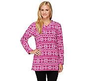 Denim & Co. Petite Printed Fleece V-neck Tunic - A259436