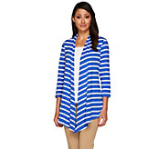 Susan Graver Weekend Striped Cotton Modal 3/4 Sleeve Cardigan - A265036