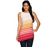 Susan Graver Striped Liquid Knit Asymmetrical Hem Tunic - A265836