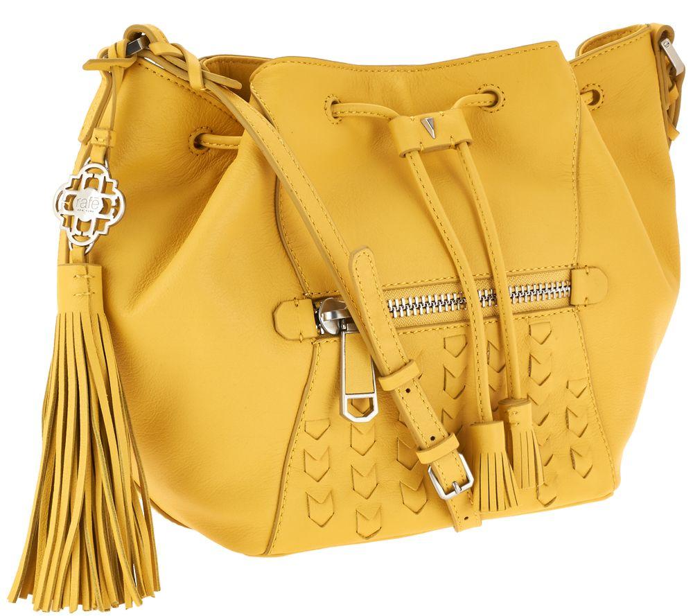 84e060d4a1ca Rafe Ariana Medium Leather Drawstring Bag - Page 1 — QVC.com