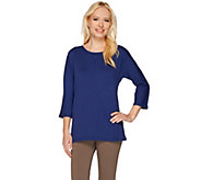 Denim & Co. Essentials 3/4 Sleeve Scoopneck Top w/ Side Slits - A266436