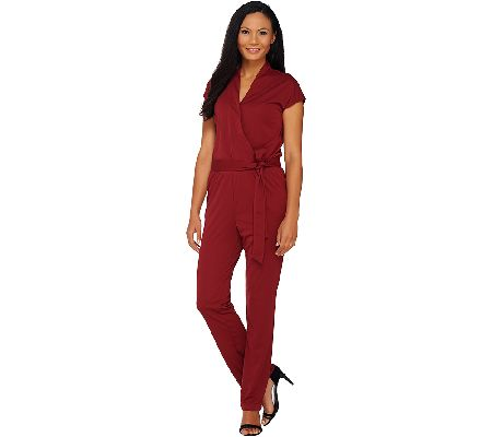 044b789f295 H by Halston Regular Knit Wrap Style Jumpsuit with Tie Waist - Page 1 —  QVC.com