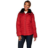 Dennis Basso Water Resistant Quilted Puffer w/ Faux Fur Collar - A270636