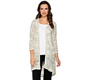 H by Halston Mixed Stitch Space Dye Open Front Cardigan - A275436