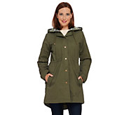 As Is Denim & Co. Zip Front Parka with Pattern Hood Detail - A277536