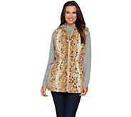 Dennis Basso Faux Fur Animal Print Vest with Hood - A280536