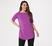 Joan Rivers Jersey Knit Tunic Top with Shirt Tail Hem - A287636