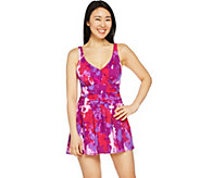 Denim & Co. Beach Ruched Flounce Swim Dress - A288836