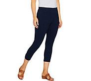 Susan Graver Weekend Cotton Spandex Capri Leggings with Cutouts - A289436