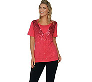 Quacker Factory Sequin Embellished Short Sleeve Duet - A290936