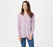 Isaac Mizrahi Live! 2-Ply Cashmere V-neck Tunic Sweater - A296236