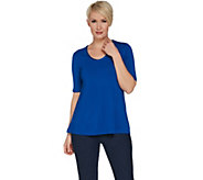 H by Halston Essentials Elbow Sleeve U-Neck Top - A300836