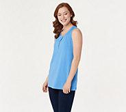 Denim & Co. Essentials Sleeveless Textured Knit Henley Top - A305036