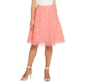 Isaac Mizrahi Live! Floral Mesh Skirt with Lace Border - A305236