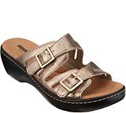 Clarks Leather Lightweight Adjustable Slides - Delana Liri - A306036