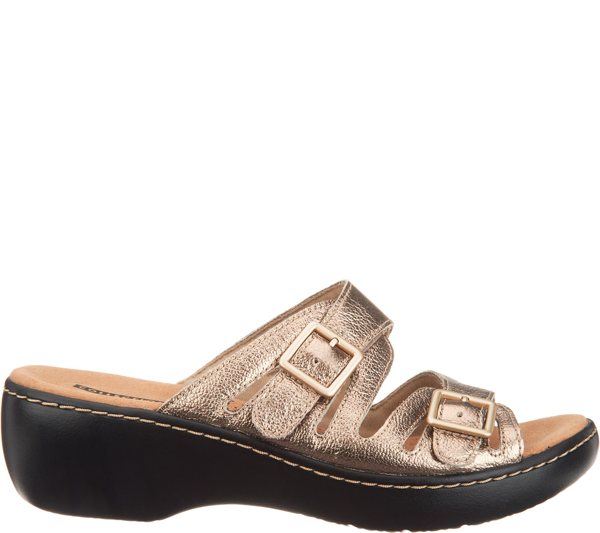 520cae4b41e Clarks Leather Lightweight Adjustable Slides - Delana Liri - Page 1 —  QVC.com