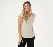 Isaac Mizrahi Live! TRUE DENIM Ditsy Floral Knit Top - A306436