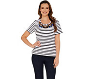 BROOKE SHIELDS Timeless Short Sleeve Striped Knit Embellished Tee - A306636